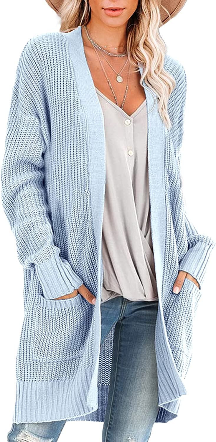 Runcati Womens Cable Knit Cardigan Sweaters Open Front Long Sweater Knitted Shawl Coat Fall Winter Outwear with Pockets