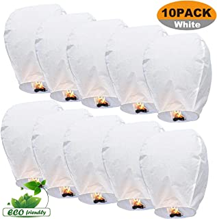 LURICO 10 Pack de Blanco Chino Sky Lanterns – Linternas Globo de Deseo Wishing lámpara Wishing
