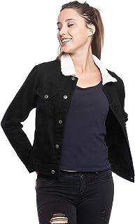 CUT OUT Chamarra de Tipo Mezclilla Color Negro para Mujer con Botones al Frente y Borrega