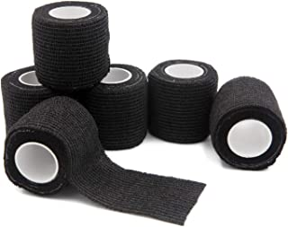 Bandages First Aid Tape Cohesive Bandage First Aid Bandages Cohesive Wrap Adhesive Bandage Self Adherent Cohesive Wrap Bandages Colorful Bandages (2 inches x 5 Yards, 6 Packs, Black)