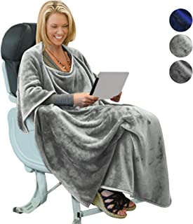 Portable Travel Blanket Airplane Office 4 in 1 Micro Mink Fleece Poncho Blanket Folable with Pocket and Built-in Bag - Great for Airplane Car Train Travel - Ultra Soft and Cozy,Light Grey