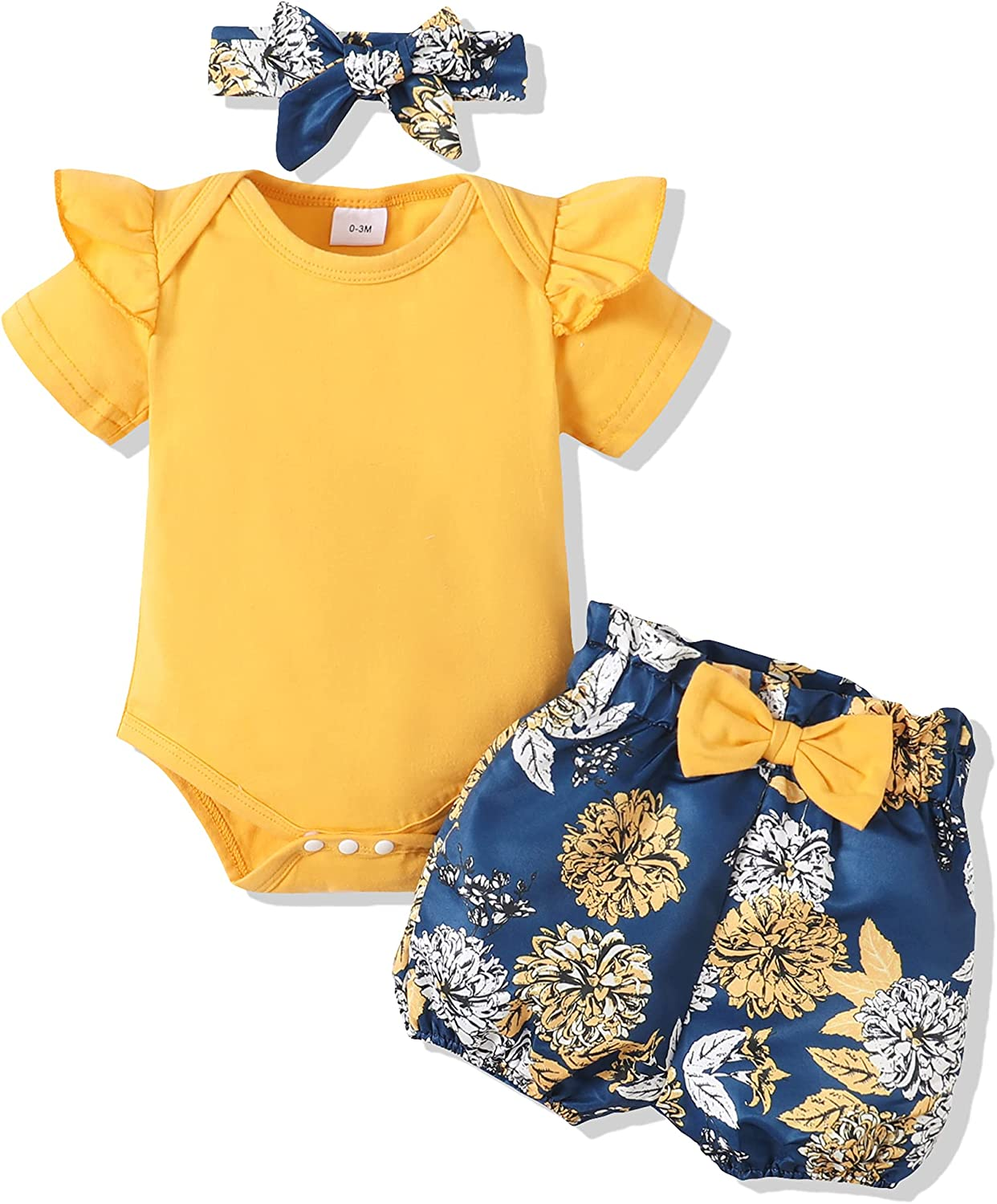 Newborn Infant Baby Girl Clothes Romper Jumpsuit Tops Floral Shorts Cute 3PCS Girl Clothes Summer Outfit Sets 0-18M