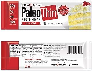 Julian Bakery Paleo Thin Protein Bar – Vanilla Cake 20g Egg White Protein (1g Sugar : 4 Net Carbs : 180 Cal) (Gluten-Free)(12 Bars)
