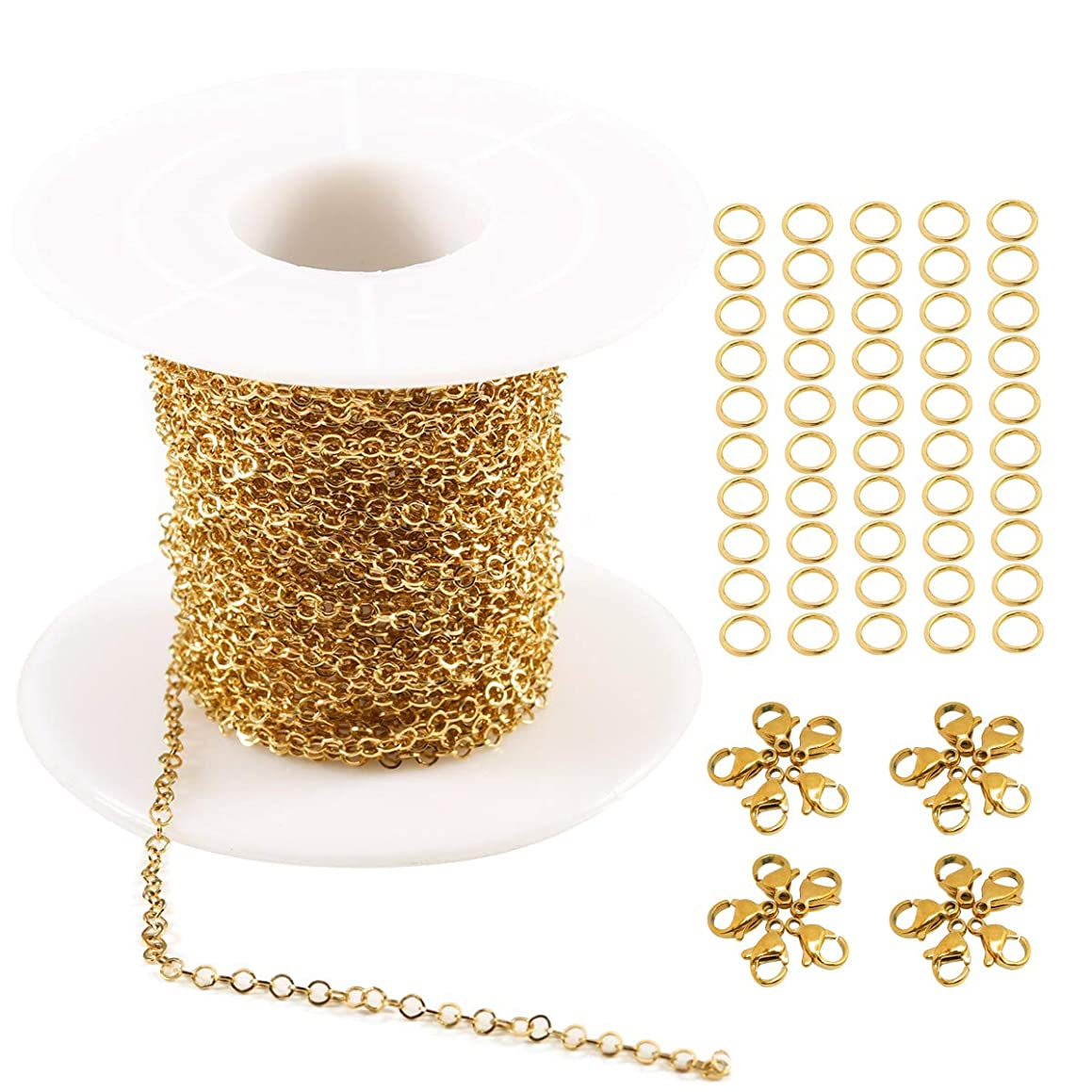 Tiparts 33 feet 18K Gold Plated Circular Rolo Cable Chains Stainless Steel Jewelry Making Chains Necklace Bulk with 20 Lobster Clasps and 50 Jump Rings (Gold, Chain Width 2mm+20pcs Clasps+50 Rings)