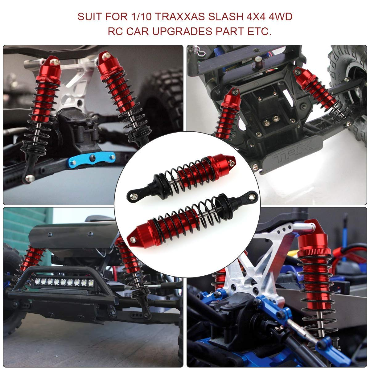 Front Rear Shock Absorber Springs Damper Aluminum Red for 1/10 Traxxas Slash 4x4 4WD RC Car Upgrades Part 4pcs