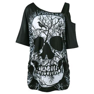 HGWXX7 Women Off Shoulder Skull Print Short Sleeve Irregular T-Shirt Top Blouse