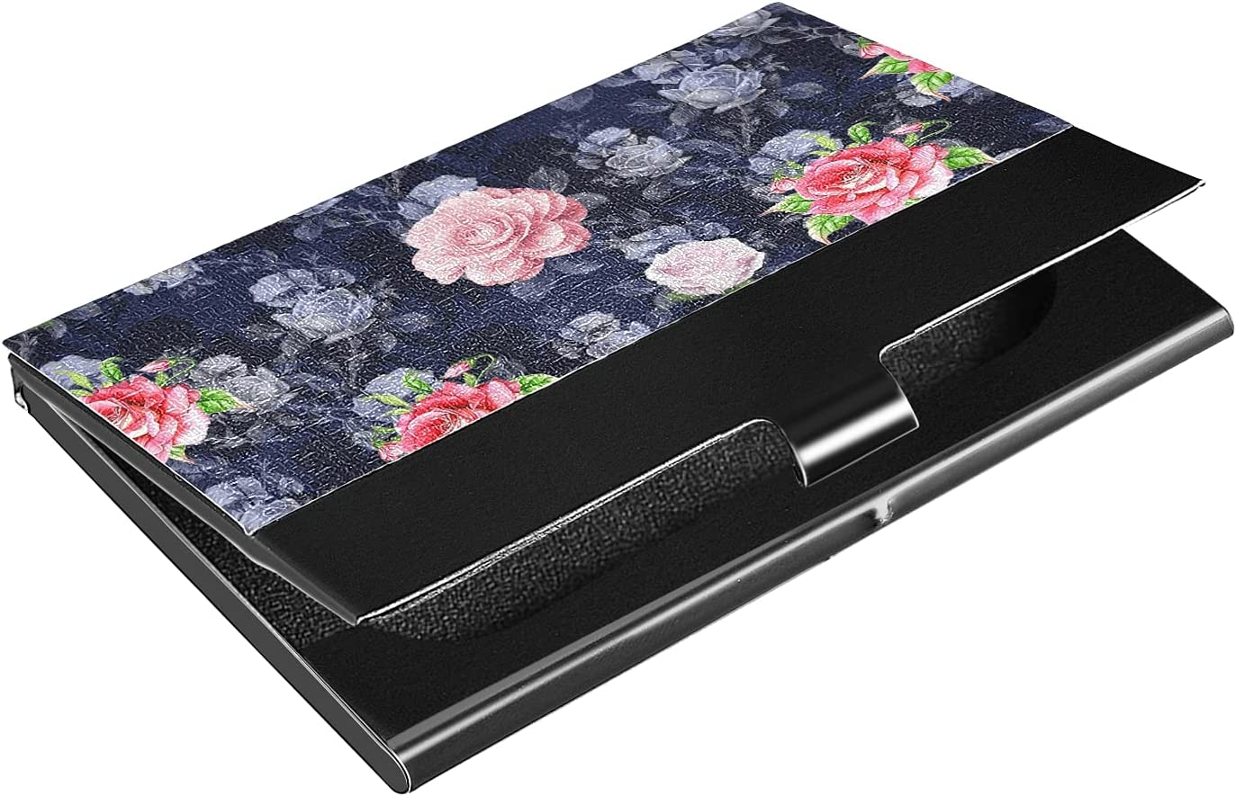 OTVEE Colorful Flowers Business Card Holder Wallet Stainless Steel & Leather Pocket Business Card Case Organizer Slim Name Card ID Card Holders Credit Card Wallet Carrier Purse for Women Men