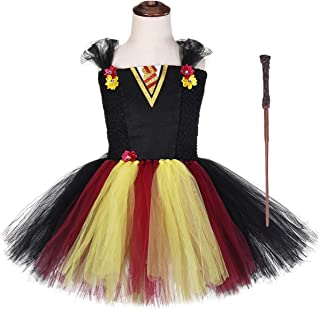 Gryffindor Tutu Dress with Wand Girls 1-12Y Halloween Birthday Party