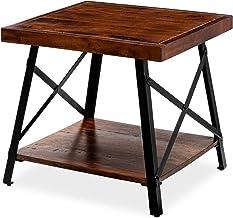 طاولة خشبية بنهاية بنية من أرتيسيا، حامل نوم مكون من إطارين مع رف تخزين خشبي، طاولة صغيرة الحجم لغرفة المعيشة أو غرفة النوم