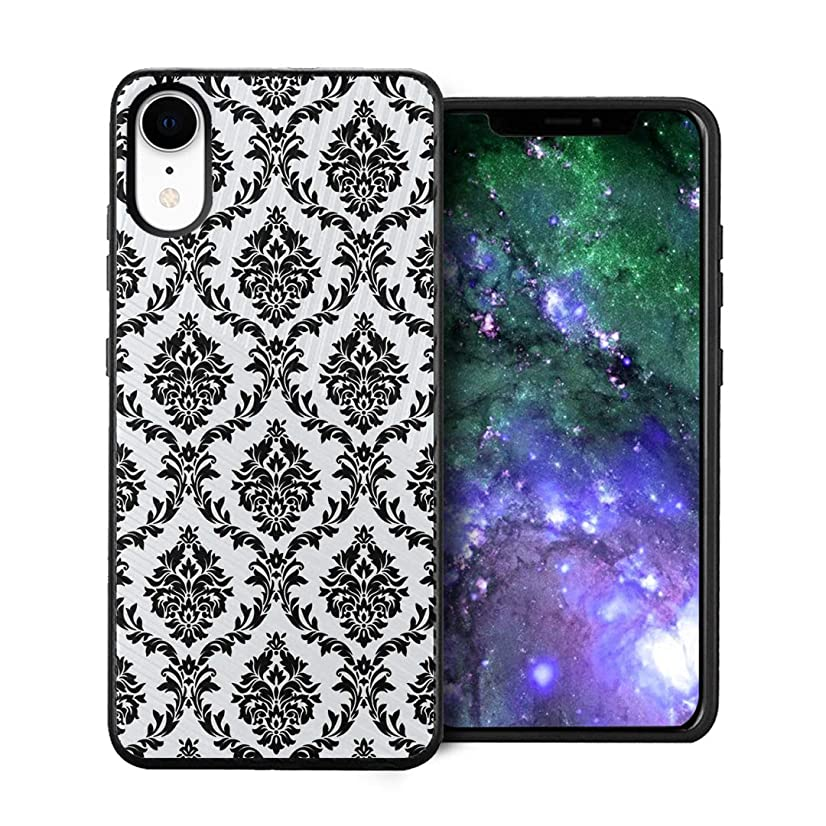 Capsule Case Compatible with iPhone XR [Embossed Diagonal Lines Hybrid Dual Layer Slim Armor Black Case] for iPhone XR- (Black Floral Damask)