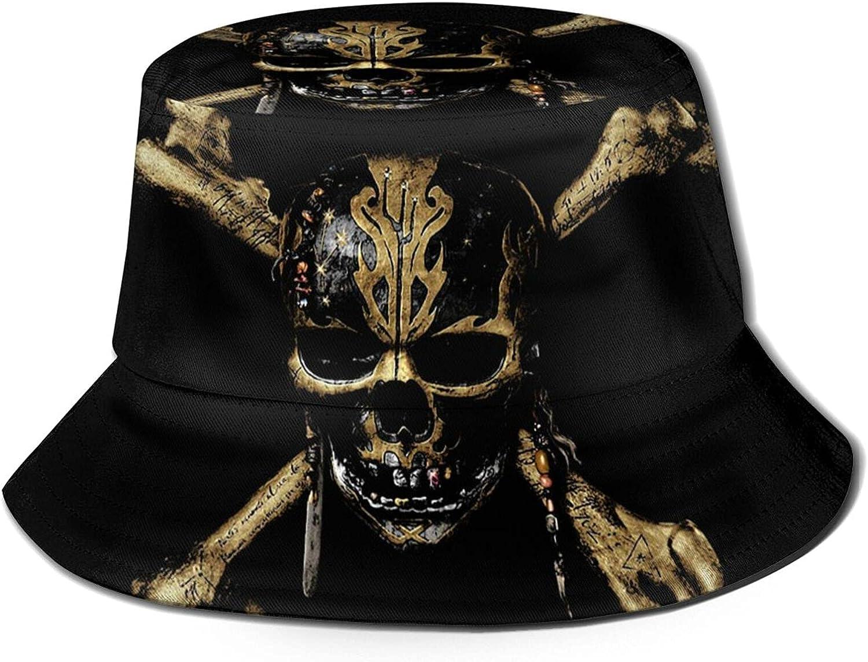 Death Pirate Bucket Hat Unisex Sun Hat Summer Packable Fisherman Hats Black