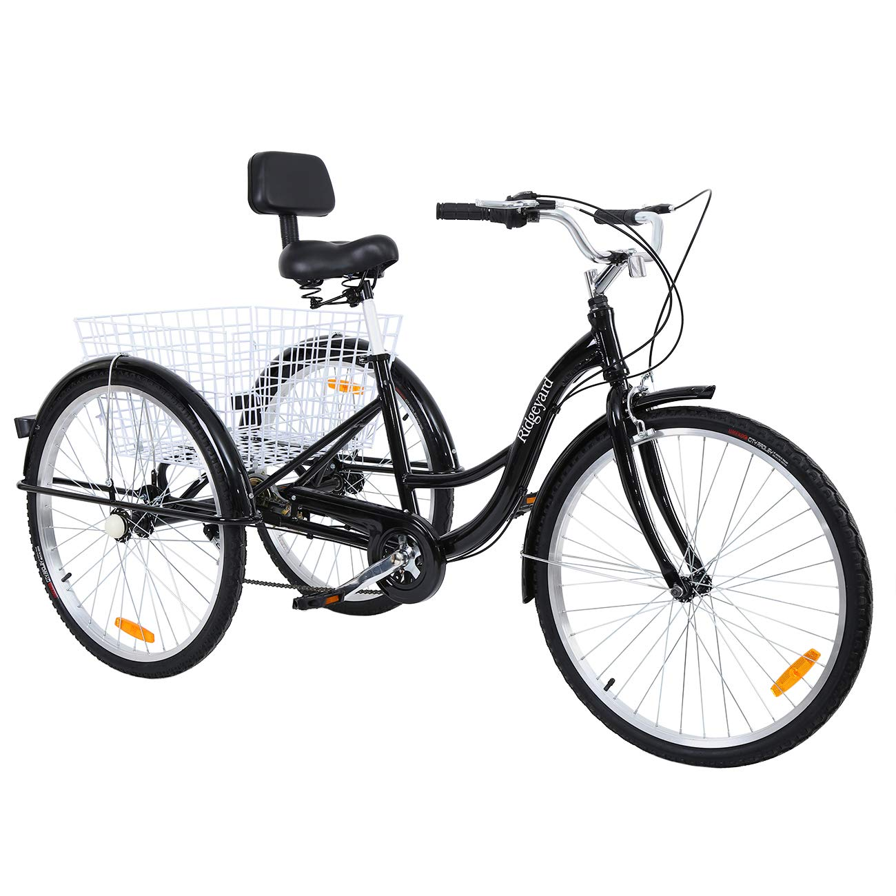 """MuGuang Adult Tricycles 26"""" 7 Speed 3 Wheel Adult Trike Bike Cycling with Shopping Basket (Black)"""