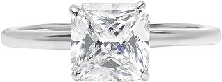 Clara Pucci 2.1ct Asscher Brilliant Cut Simulated Diamond Classic Solitaire Designer Statement Ring Solid 14k White Gold for Women