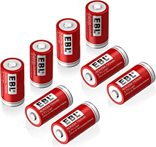 EBL RCR123A Rechargeable Batteries (8-Pack) Li-ion 3.7V Battery for Arlo Wireless Security Cameras (VMC3030/VMK3200/VMS3330/3430/3530)