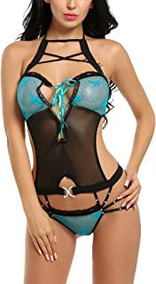 Avidlove Women Strappy Lingerie Bodysuit Bandage Halter Teddy One Piece Babydoll