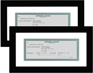 Americanflat 2 Pack - Business License Frames - Made for Business Licenses Sized 3.5x8 Inches with Mat or 5x10 Inches Without Mat - Made for Standard Business Licenses, Real Estate Licenses