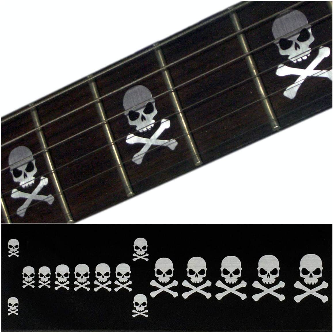 Pegatinas para diapasón con incrustaciones de pegatinas para guitarra y bajo, diseño de calaveras laterales con huesos cruzados, color metálico