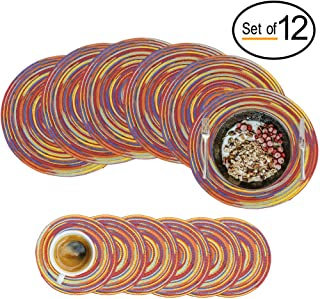 Round Braided Placemats Set of 12 Decorative Colorful Placemats for Kitchen Dining Tables, Wedding, Vacation, Round Table Mats Heat Insulation Non-Slip Bohemian Style (Red, 6 Placemats+6 Coasters)