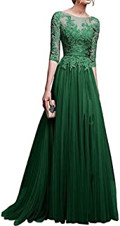 Womens 3/4 Sleeve Lace Tulle Prom Dress Long Aline Evening Dresses with Slit