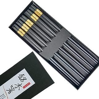 KINGFINGER Luxury Reusable Chopsticks Set, Alloy Melamine Replace Wooden Dishwasher Safe Non-slip Chopstick with Case (Black 5 Pairs)
