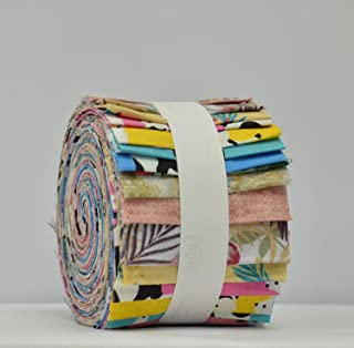 """Cow Print Jelly Rolls Fabric for Quilting, Patchwork, Craft 100% Cotton Material - Pack of 20 Strips (2.5"""" W x 45"""" L)"""