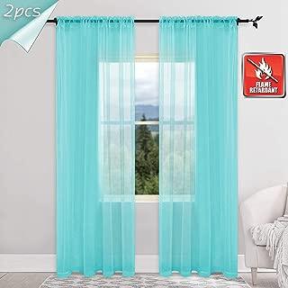 KEQIAOSUOCAI 2 Panels Flame Retardant Sheer Curtains for Hospital Office School Nursery (Turquoise 52Wx95L)