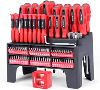 HORUSDY 100-Piece Magnetic Screwdriver Set with Plastic Racking, Tools for Men Tools Gift