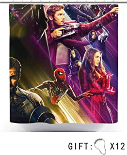 Kitimi Shower Curtain - 72 Inch, Avengers Infinity war Captain America ant Man Spiderman Drax Thor Loki war Machine Scarlet Witch Star Lord Mantis Winter Soldier
