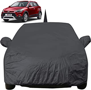 Autofact Car Body Cover for Hyundai I20 Active with Mirror and Antenna Pocket (Light Weight, Triple Stitched, Heavy Buckle, Bottom Fully Elastic, Grey)