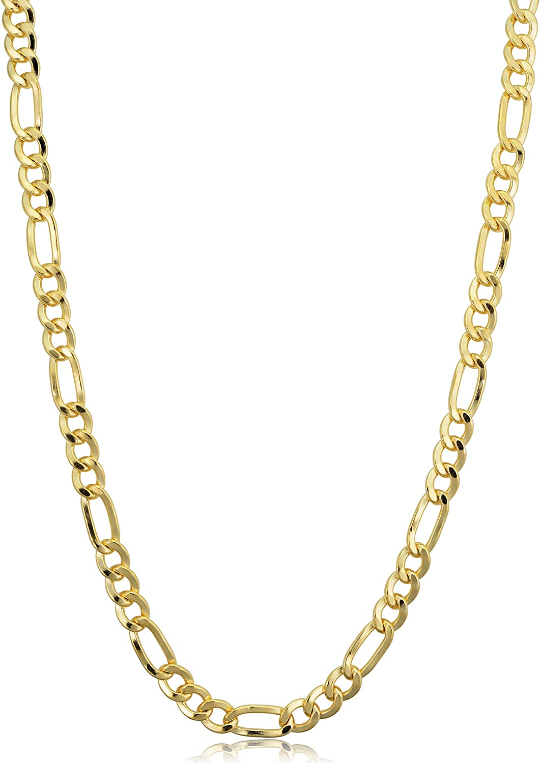 Kooljewelry 14k Yellow Gold Filled Figaro Necklace (3.3 mm, 4.2 mm, 5.2 mm, 6 mm, 7.8 mm or 8.6 mm)