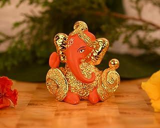 CraftVatika 24 K Gold Plated Red Terracotta Ganesha Statue for Car Dashboard Lord Ganesh Ganpati Idol with Gift Box Home O...