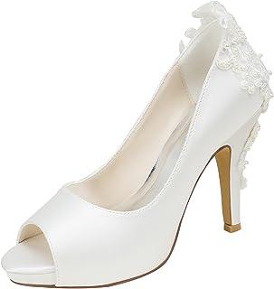 3f5a90ef306b1 Emily Bridal Ivoire Chaussures de Mariage en Soie à Talons Hauts Peep Toe  Perles Détail Glisser