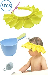 Silicone Baby Shower Cap & Baby Shampoo Rinse Cup Bath Set   Highly Adjustable, Stretchy, Bath Visor for Kids, Toddlers and Babys   Safe and Soft   Suction Cup Hooks for Bathroom Organization (Blue)