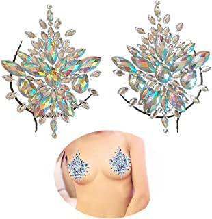 Mermaid Breast Gems Glitter,Body Jewels Rave Festival Rhinestone Face Body Jewelry Stick On Crystal Tattoo Nipple Chest Crystal Body Gem Stones Bindi Stickers(1 Set Breast Glitter)
