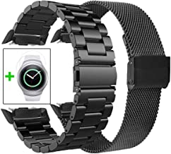 Koreda Compatible with Samsung Gear S2 Bands Sets, 2 Pack Stainless Steel Metal Band + Mesh Loop Replacement Bracelet Strap for Gear S2 Sport Smart Watch SM-R720/R730 (2 Pack Black)