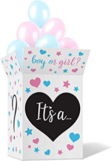 Gender Reveal Box with Sealing Stickers - Fun Baby Boy and Girl Party Supplies, Games, Activities, Props and Decorations -...