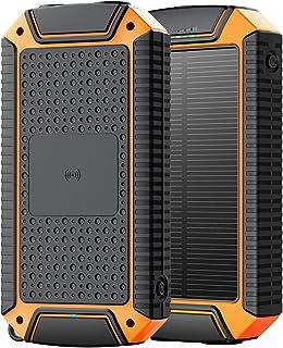 8000MAH Solar Power Bank, 10W Fast Qi Trådlös laddare Vattentät Powerbank med Camping Flashlight Portable Charger Poverban...