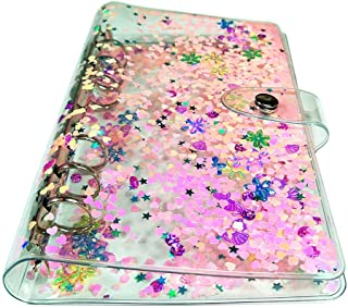 Personal A5 Size 6 Holes Binder Cover Glitter Quicksand Soft PVC Planner Protector with Snap Button Closure Loose Leaf Fol...