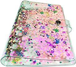 Personal A6 Size 6 Holes Binder Cover Glitter Quicksand Soft PVC Planner Protector with Snap Button Closure Loose Leaf Folder (Personal A6, Only Binder Cover)