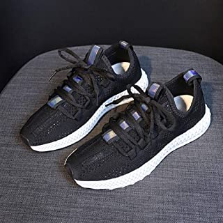 Breathable Casual Shoes Female 2019 Summer New Wild Sports Shoes Female Flying Woven Student Casual Shoes Street Clapper Shoes Women (Color : Black, Size : 36)