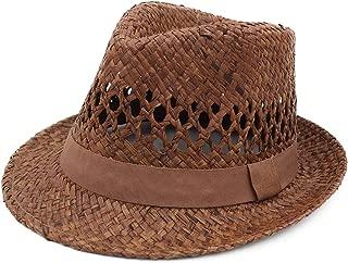Melesh 100% Raffia Sun Straw Summer Beach Women Men Trilby Fedora Hat Coffee