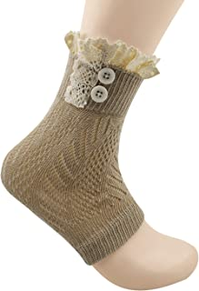 Spring Fever Women's Cotton Lace Boot Cuffs Trim and Buttons