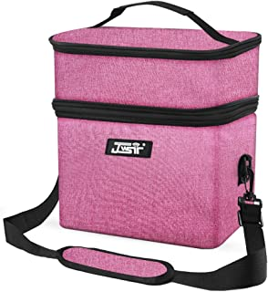 Lunch Bag Insulated Lunch Box Double Deck Lunch Bag for Men Women Kids,Dual Compartment Resuable Cooler Tote Bag With Shoulder Strap Leakproof Lunch Box for Office, School, Work, (Double Deck Pink)