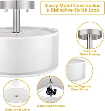 3-Light Semi Flush Mount Ceiling Light Fixture, Drum Light with Double Fabric Shade, Modern Close to Ceiling Lamps for Living