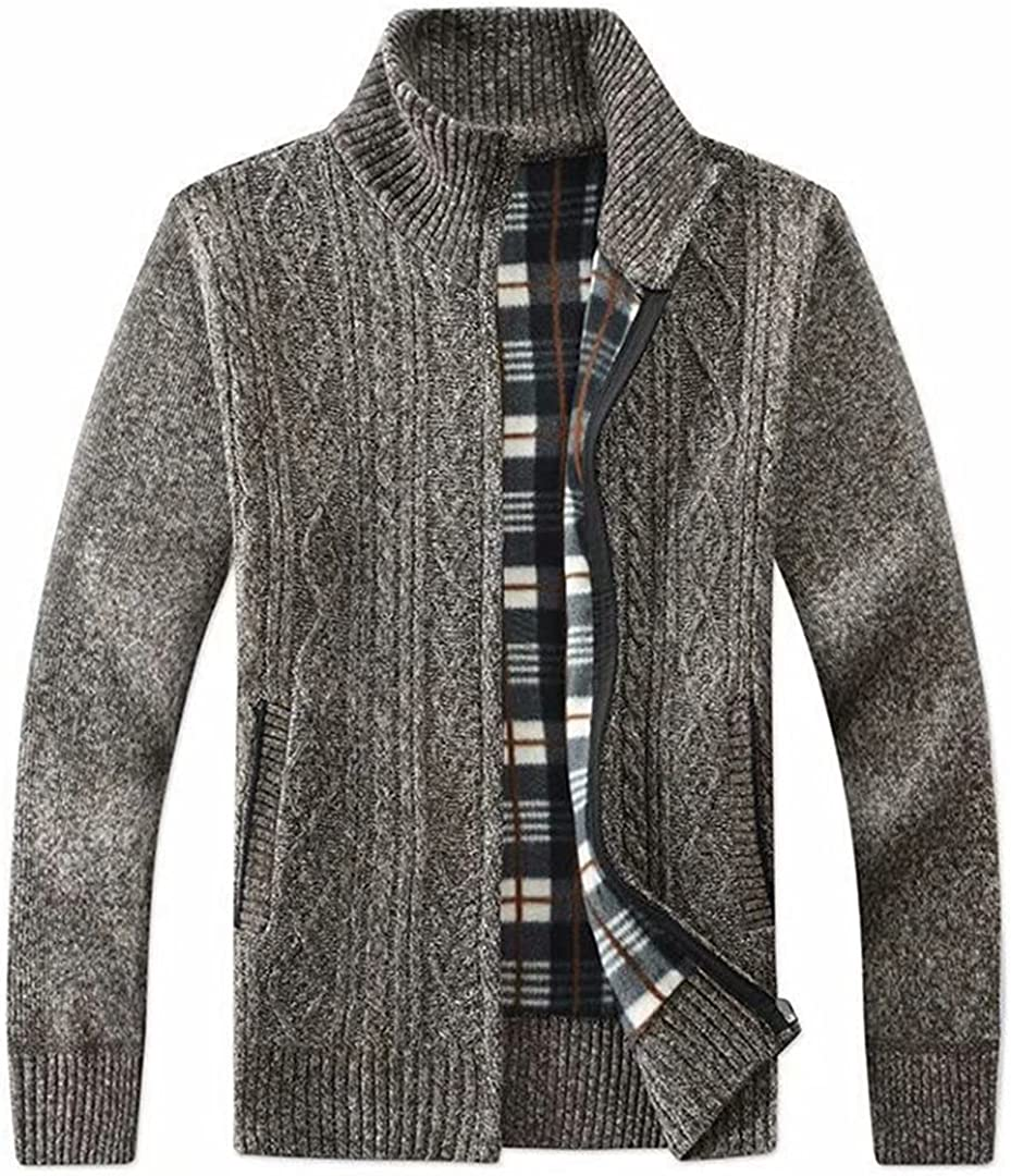 Msmsse Men's Casual Full Cardigan Max 62% OFF Knitted Selling rankings Sweaters Zip