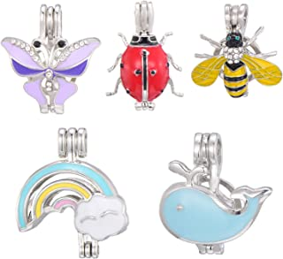SHUHONEY 10 Pcs Enamel Butterfly Bee Rainbow Beetle Dolphin Pearl Bead Cages Pendant Wholesale - Necklace Bracelet Jewelry Making Charms for Kids