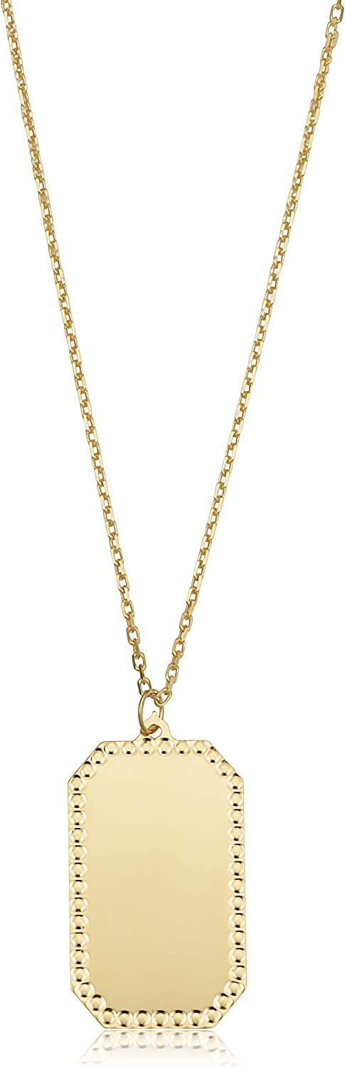 10k Yellow Gold Plaque Engraveable Dog Tag Pendant on Adjustable Length Cable Chain Necklace (adjusts to 17 or 18 inch)