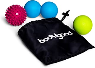 BodyGood Massage Ball Set. Includes Lacrosse Style Ball, Spikey Ball and Peanut for Plantar Fasciitis, Deep Tissue and Myofascial Trigger Point Therapy. Use on Entire Body or Foot, Hands, and Back