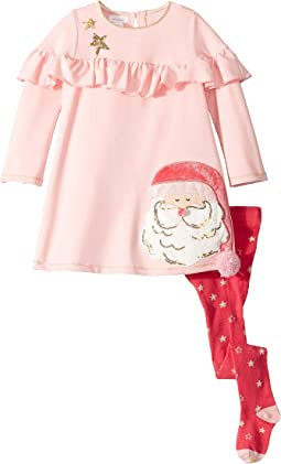 Santa's Christmas Dress and Tights Two-Piece Set (Toddler)