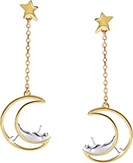 Cat Moon and Star Earrings Sterling Silver Stud Earrings Silver and Gold Star Dangle Earrings Cat Lover Gifts for Women Girls